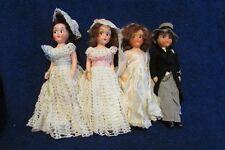 Vintage Set of 1950's Hard Plastic Dolls - Bride, Bridesmaids and Groom