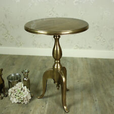 Round brass gold metal occasional side table french vintage chic furniture