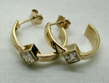 Lovely Pair Of 9 carat Gold And White Tourmaline Hoop Earrings