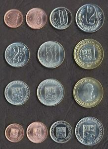 VENEZUELA FULL COIN SET 1+5+10+12.5+25+50 Cent 1 Bolivar 2007- UNC 200_SETS_HERE