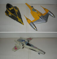 3 VAISSEAUX,SPACESHIPS STAR WARS HASBRO,KENNER,X-WING,NABOO,STARFIGHTER,SPARES