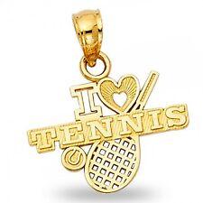 I Love Tennis Pendant Solid 14k Yellow Gold Racket Ball Heart Sports Charm Fancy