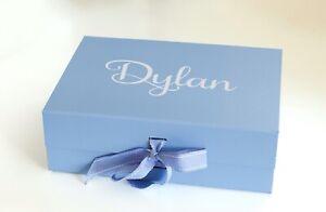 LARGE A4 BLUE GIFT BOX PERSONALISED BIRTHDAY BRIDE BRIDESMAID KEEPSAKE BOX