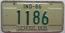 Indiana 1986 SCHOOL BUS License Plate # 1186