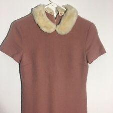 Adorable Pink Wool Peter Pan Fur Collar 1960s/70s Dress