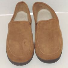 ISOTONER $59 MENS Brown COMFY Suede Shearling SLIP-ON Slippers Shoes 11 - 12