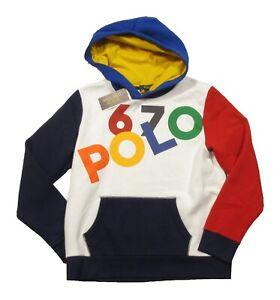 Polo Ralph Lauren Boys White Multi POLO 67 Fleece Lined Pullover Hoodie