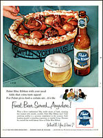 1954 Pabst Blue Ribbon Beer served with lamb stew vintage art print ad L38