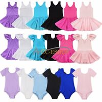 Girls Sport Shiny Dancer Ballet Tutu Dance Dress Skirt Leotards Dancewear 2-14Y