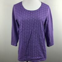 Coldwater Creek S Small Knit Top Eyelet Purple Scoop Neck 3/4 Sleeve 100% Cotton