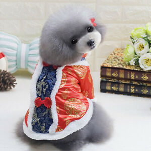 Pet Happy New Year Tang-suit for Dog Chinese Spring Festival Puppy Jumpsuit