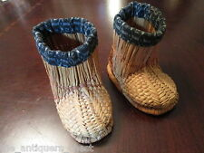 "Antique 1900s rice straw child boots, 4"" x 5"",hand made [japbx]"