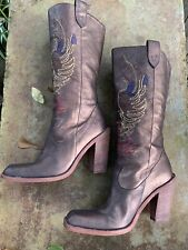 Gianni Bini Bronze Embroidered Leather Neal Cowboy Boots Size 7.5M