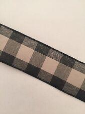 "BUFFALO PLAID Black Khaki Taupe Burlap Check WIRE EDGED RIBBON 1-1/2"" x 5 Yards"