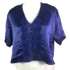 Vtg Victoria's Secret Womens L Cropped Button Front Top Purple Shimmer Lace NWT