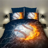 Kids Bedding Set Baseball Fire Duvet Cover Set Pillow Case Twin Full Queen King