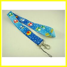 Mario Blue Mushroom Neck Lanyard Strap Cell Mobile Phone ID Card Keychain + GIFT