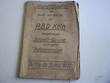 Hand Fahrplan der Reichsbahn Direktion Köln 1935 super original Stück