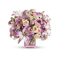 Teleflora's Possibly Pink Glass Cube Vase - VASE ONLY!