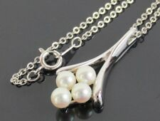 """Authentic MIKIMOTO Genuine Japan Akoya 5mm Pearl Pendant Silver Necklace 16.1"""""""