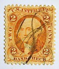 US Revenue Stamp #R6c – 1862-71 2-cent Bankcheck Orange Very-Fine+ Scribble