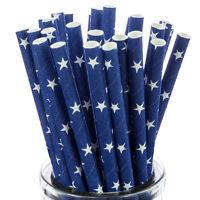 Blanc Étoile sur Bleu Pailles en Papier X25 Rétro Bâtons Cakepop Vintage Boisson