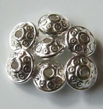 100pcs 6x3mm Metal Alloy Flat Bicone Spacers - Bright Silver
