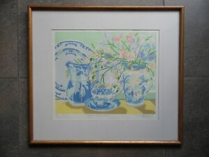 Nicola Gresswell LE Signed Still Life Blue + White China + Sweet Peas '81 Listed