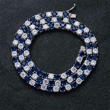 "5MM Brilliant Sapphire & Diamond 14K White Gold Over Tennis 16"" Chain Necklace"