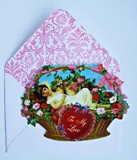PUNCH STUDIO Set of 6 Die-Cut Valentine Blank Note Cards~Floral Basket~Cats~Girl