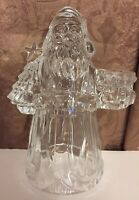 Crystal Santa Claus Taper Candle Holder Figurine Christmas Holiday USA