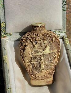 "Rare Japanese hand carved antique vase signed in original box 2.5"" X 2"""