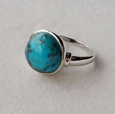 925 STERLING SILVER ROUND TURQUOISE CABOUCHON RING SIZE O - BNIB
