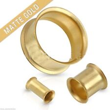 "Pair-Matte Gold Plate Double Flare Ear Tunnels 24mm/15/16"" Gauge Body Jewelry"