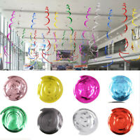 6/12pcs PVC Swirl Spiral Hanging Ornaments Layout Birthday Wedding Party Decor