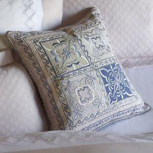 NEW SFERRA Laurana Decorative Pillow Italy  Cotton Linen Pink Green Blue Pastels