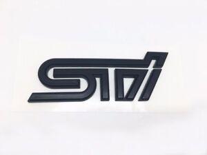 NEW JDM MATTE BLACK subi S-T-I REAR BADGE BLACK EMBLEM