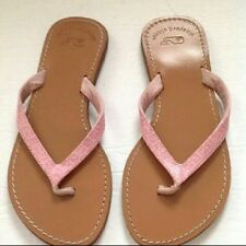 Vineyard Vines Womens Flip Flops All Leather Pink Whale Logo Sz 6