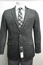 Men's Charcoal Gray Flannel Glen Plaid 2 Button Blazer SIZE 52R NEW