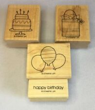 Stampin Up Set of 4 Happy Birthday Rubber Stamps Cake Present Balloons Gift Bag