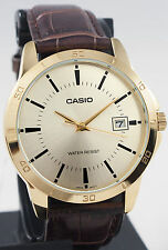Casio Mens Mtp-v004gl-9a Gold Analog Brown Leather Band Day Date Watch 2015