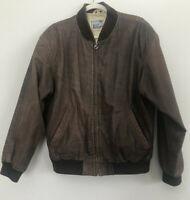 Vintage Aeropostale Brown Leather Bomber Flight Jacket Lined Mens Size M
