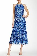 NWT Nine West Bright Blue Surf Print Mesh Ruched Long Ankle Maxi Dress 10 $99