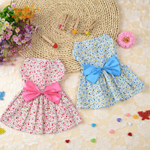Small Pet Dog Cat Summer Floral Print Skirt Princess Dress Puppy Clothes Apparel