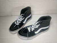 VANS SK8 Hi Top BLACK WHITE 721494 Canvas Suede Sz 4 Skateboarding Classic Gum