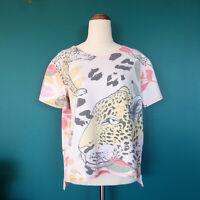 Custom Handmade SCHUDIO Leopard Animal Print Colourful Bright T-Shirt Top Size 8