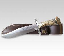 NEW GERMAN LINDER OLD WESTERN BOWIE CROWN STAG HUNTING KNIFE W/ LEATHER SHEATH !
