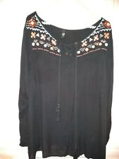 Evans Black Top 18 beautiful with embroidery sequin detail to neckline immaculat