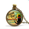 Black Cat Fortune Telling Circus Game Glass Cabochon Bronze chain Necklace