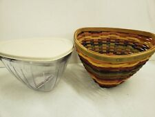 Longaberger Multi Color Striped Triangle Bowl Basket Combo New Retired